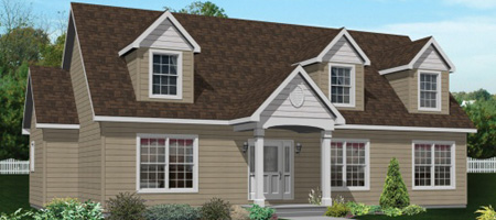 Artist's Rendering of The Augusta Cape-Cod Style Modular Home (Pennwest Homes Model: HP103-A)