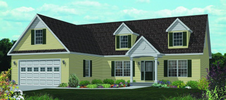 Artist's Rendering of The Livingston Cape-Cod Style Modular Home (Pennwest Homes Model: HP106-A)