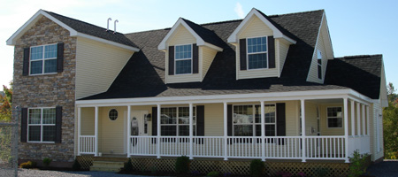 Artist's Rendering of The Ridgefield Two Story/Cape-Cod Style Combination Modular Home (Pennwest Homes Model: HK101-A)