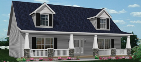Artist's Rendering of The Wilmington Cape-Cod Style Modular Home (Pennwest Homes Model: HP104-A)