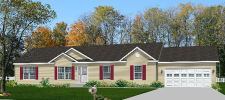 Artist's Rendering of The Pennflex Ranch Modular Home (Pennwest Homes Model: HR150-A)