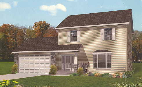 Artist's Rendering of The Bedford II Two Story Modular Home (Pennwest Homes Model: HS113-A)