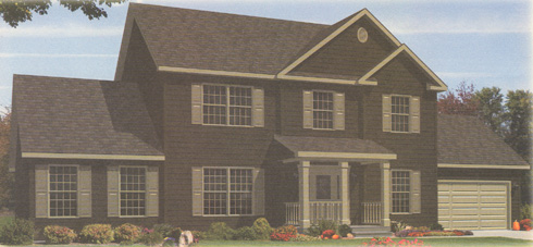 Artist's Rendering of The Harrington IV Two Story Modular Home (Pennwest Homes Model: HS162-A)
