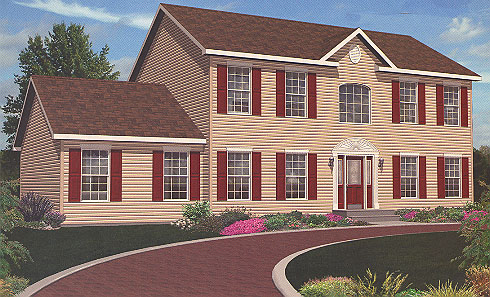 Artist's Rendering of The Lexington Two Story Modular Home (Pennwest Homes Model: HS105-A)